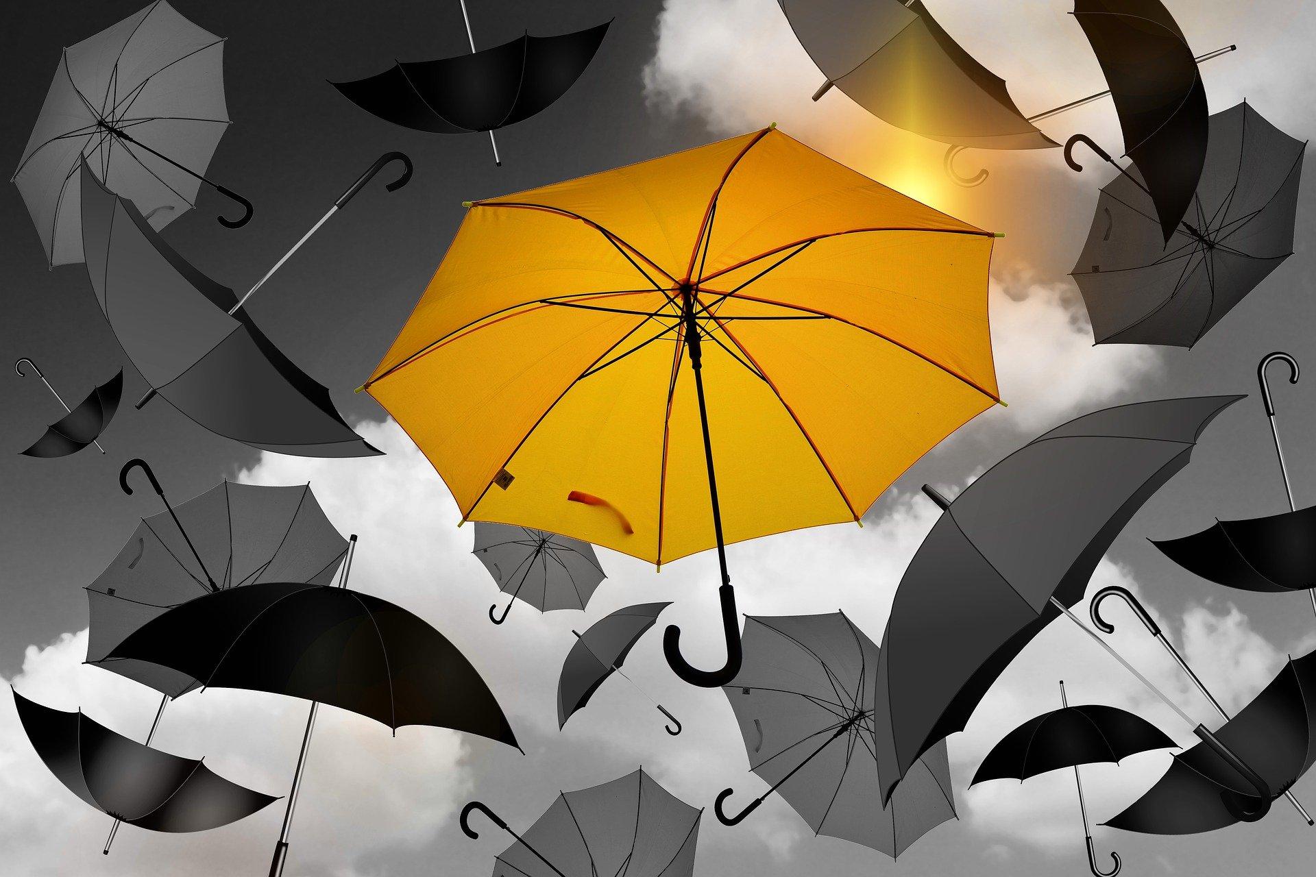 Resilienz-Training - Bild mit Regenschirmen